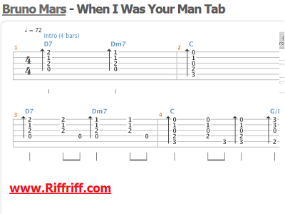 When I Was Your Man By Bruno Mars Lean How To Play Guitar Riffs At