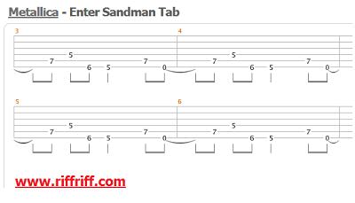 Enter Sandman Guitar Tab - Metallica
