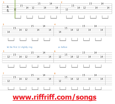 Sweet Child of Mine Guitar Tab Riff
