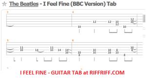 The Beatles - I Feel Fine Guitar Tabs