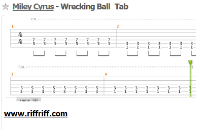 Wrecking Ball Guitar Tab