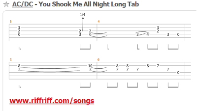 You Shook Me All Night Long Guitar Tabs