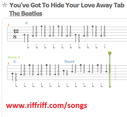 Youve got to hide your love away guitar tab