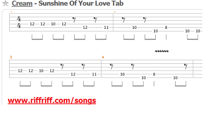 sunshine of your love guitar tabs