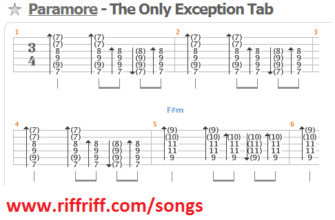 How To Play The Only Exception Lean How To Play Guitar Riffs At